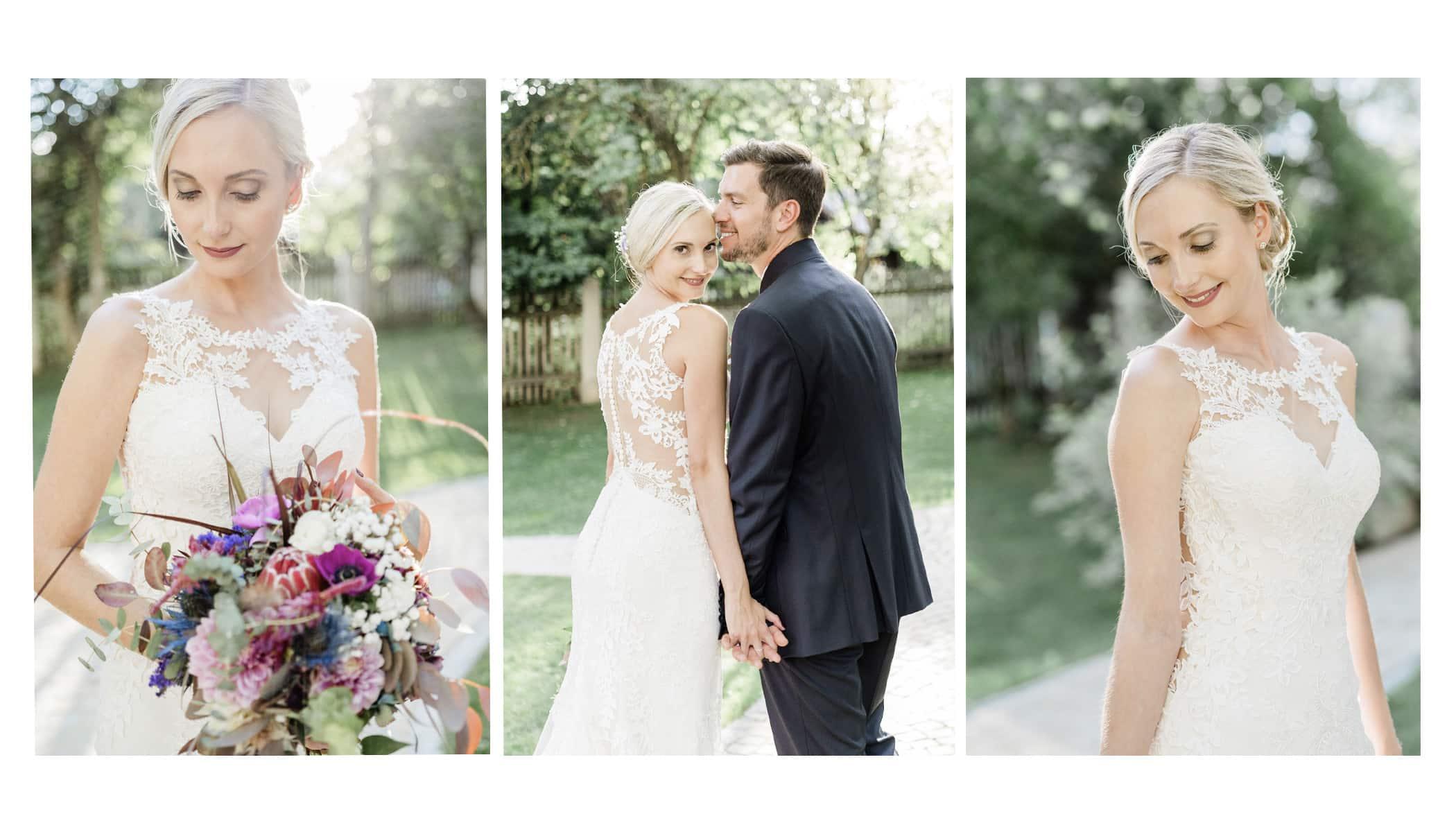 stilvolle elegante und zeitlose Hochzeitsfotos. Braut und Bräutigam machen an ihrem Hochzeitstag Paarfotos. Die Braut hat einen Brautstrauß in der Hand. Die Hochzeitsfotografin ist aus Wien und macht exklusive Hochzeiten